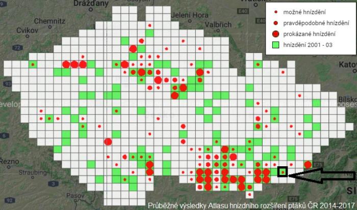 Dudek mapa rozšíření